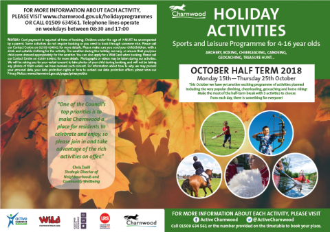 Oct half term activities 2018